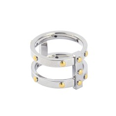 - Anillo doble linea remaches - AAN345 PL