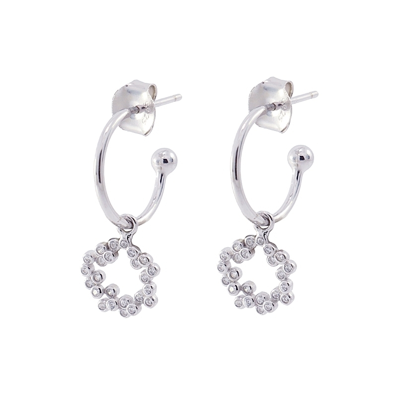 Flower hoop earrings  PE360