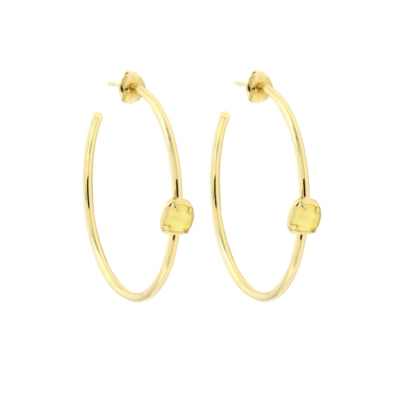 Cat eye stone hoop earrings  APE908